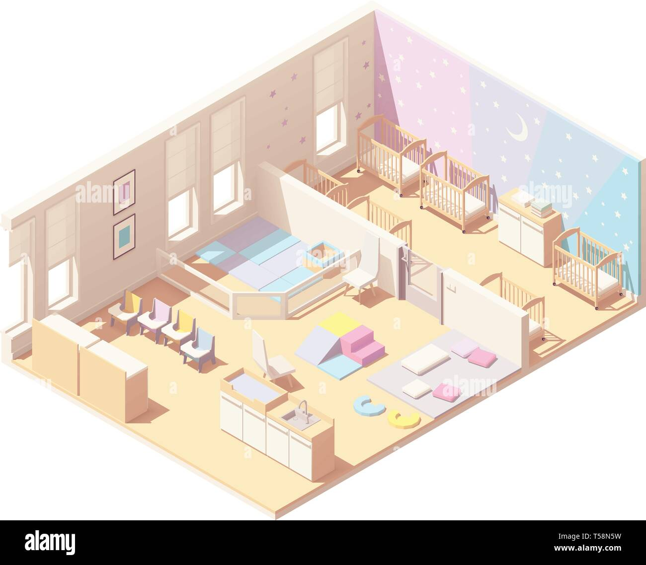 Isometric infant daycare classroom - Stock Vector
