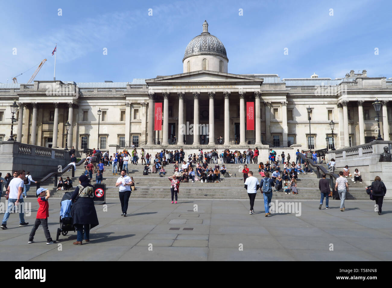 The National Gallery viewed from Trafalgar Square, London Stock Photo