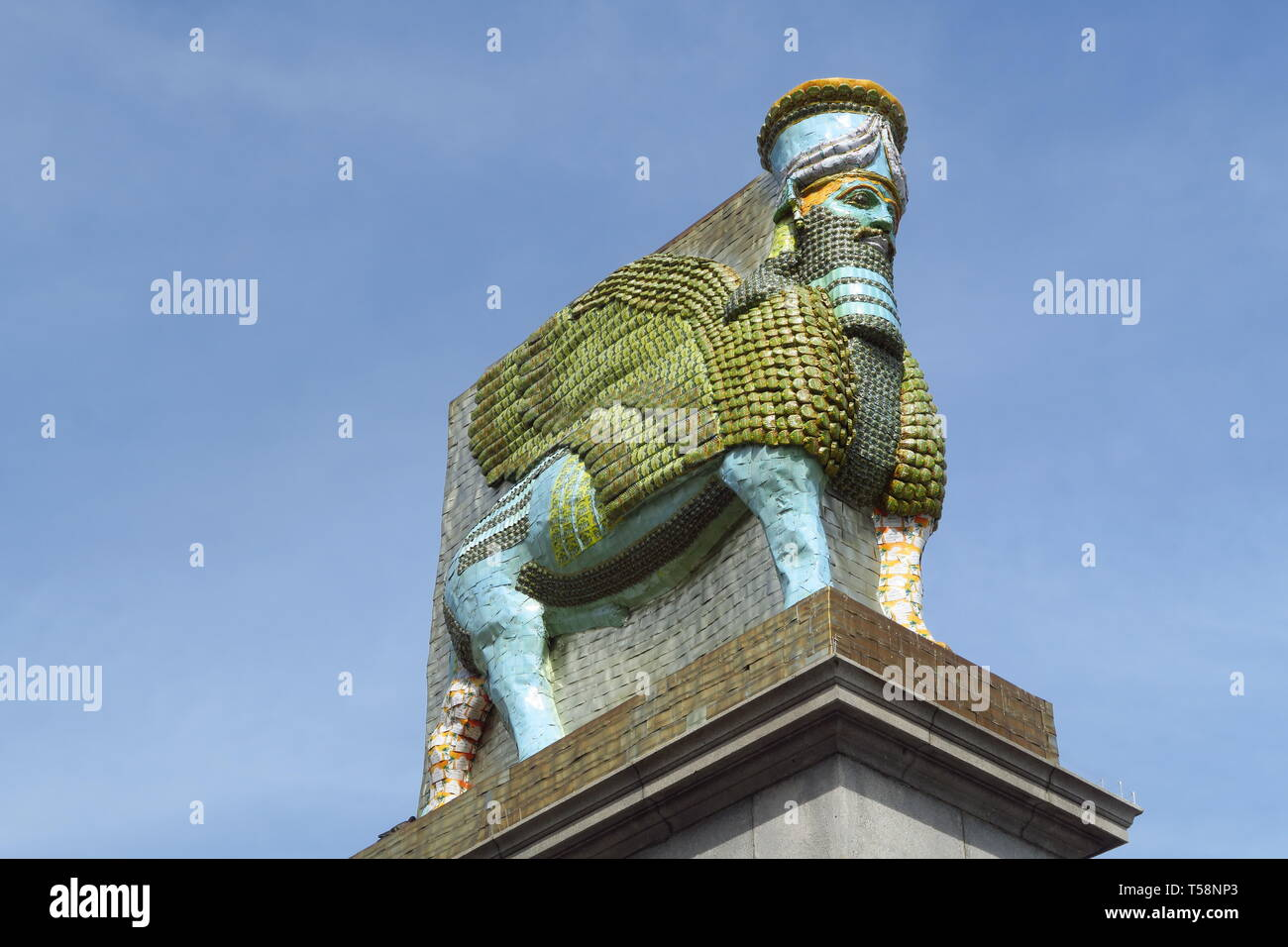 Lamassu installation made out of old date cans currently stands as the fourth plinth statue in London's Trafalgar Square Stock Photo
