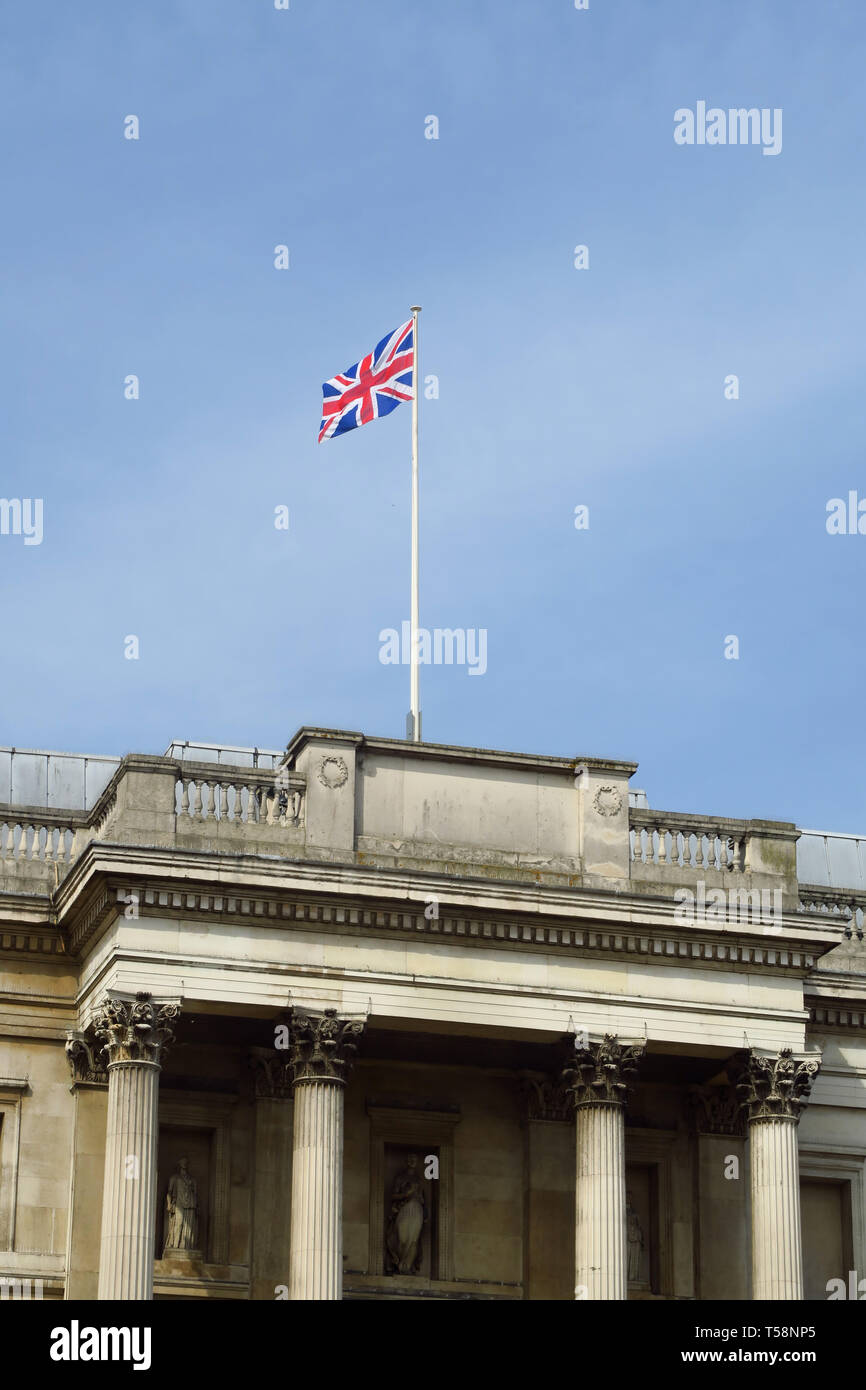 The Union Jack flies proudly above the National Gallery, Trafalgar Square, London Stock Photo