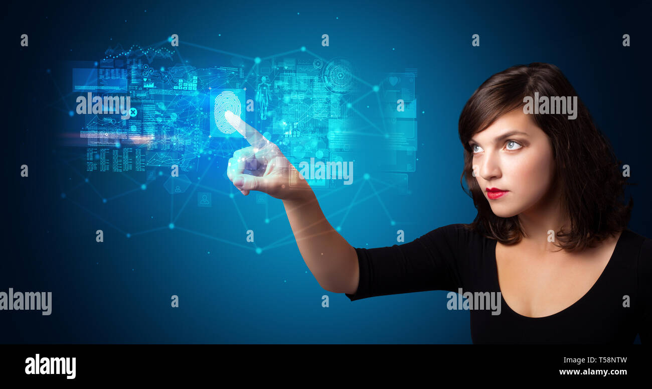 Woman accessing modern hologram personal database with fingerprint