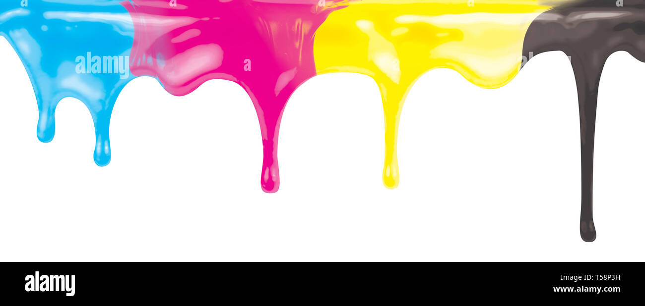 CMYK ink color paint dripping isolated on white with clipping path - Stock Image