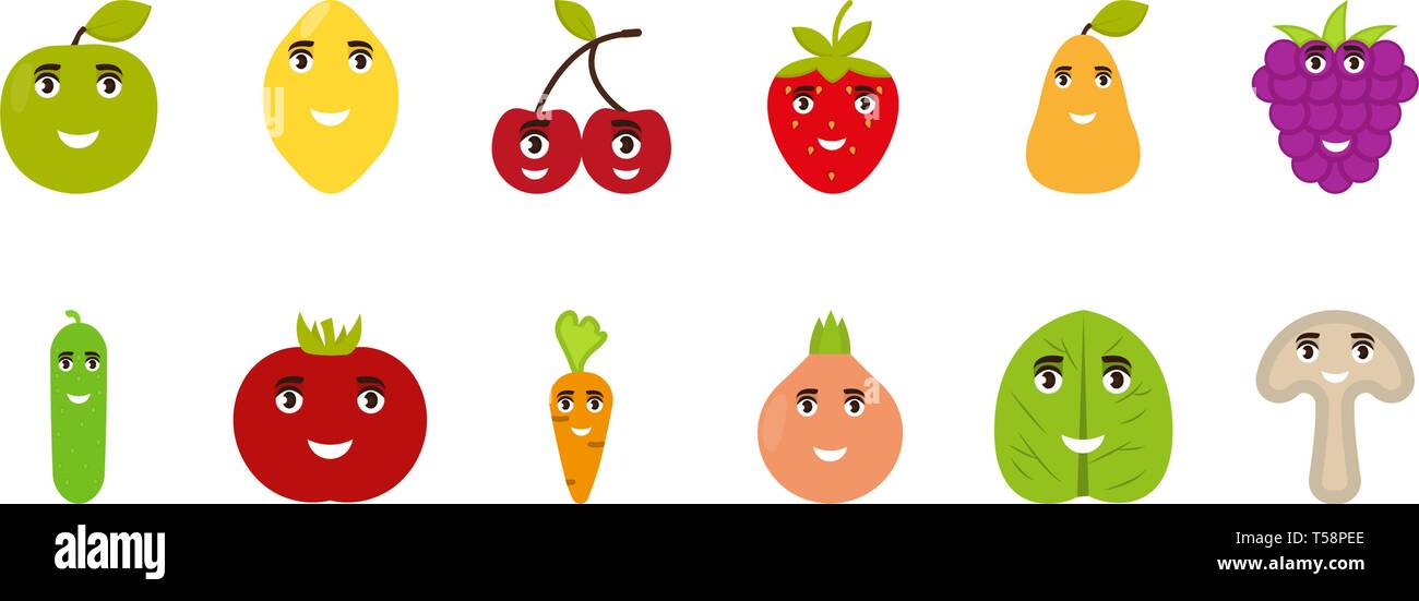 Fruits and vegetables funny faces, happy emoticons vector flat icons - Stock Vector
