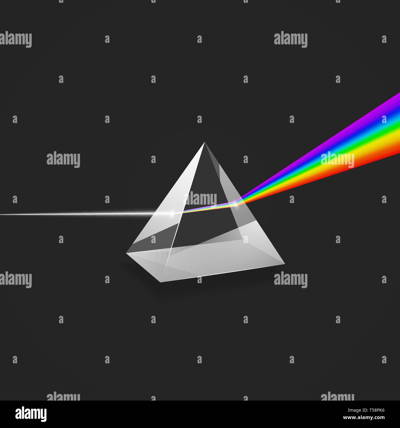 Dispersion. Colorful spectrum of light. Experiment with glass prism and beam of light. Vector illustration - Stock Image