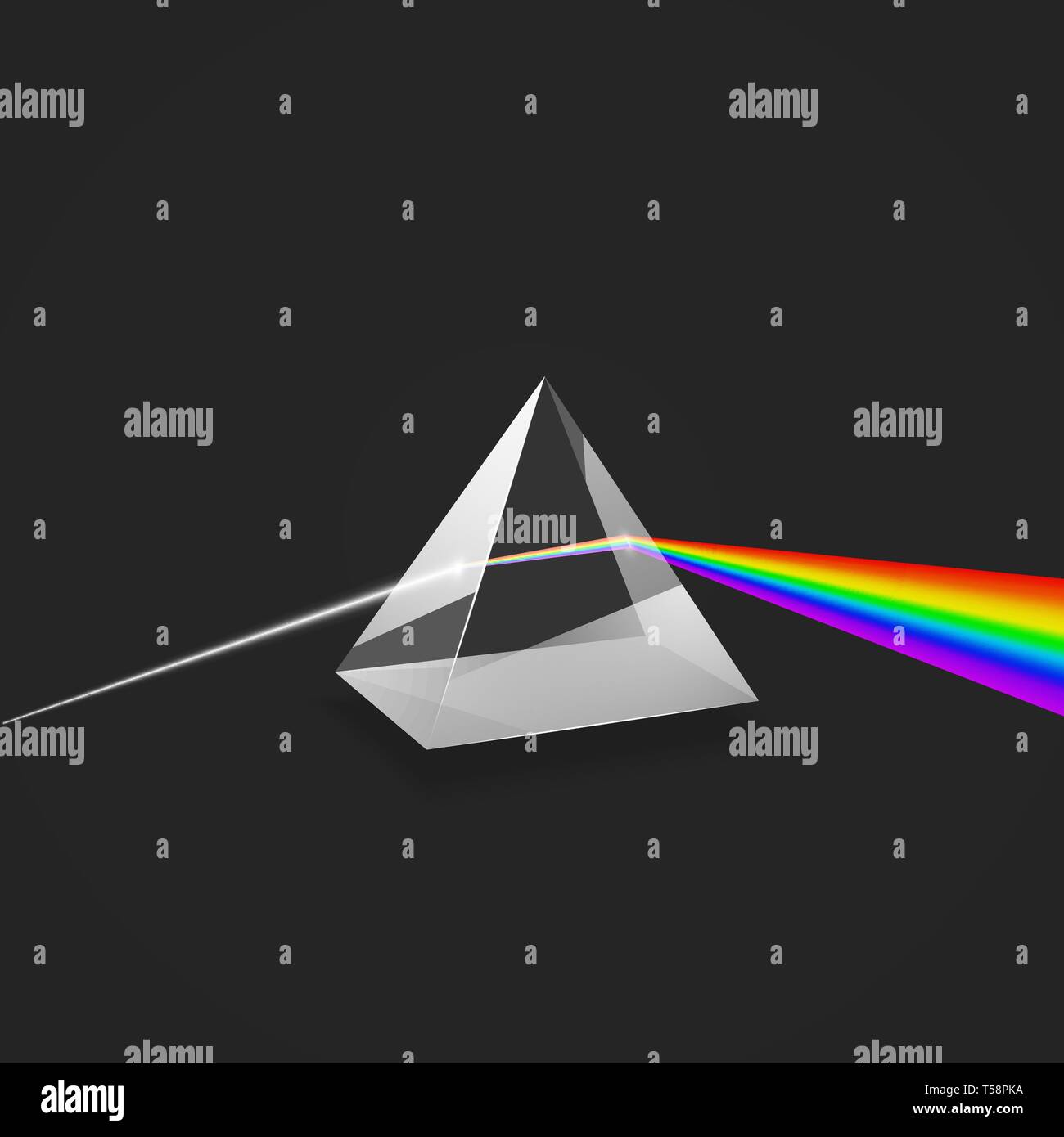 Dispersion. Colorful spectrum of light. Glass prism and beam of light. Science experiment with light. Vector illustration - Stock Image