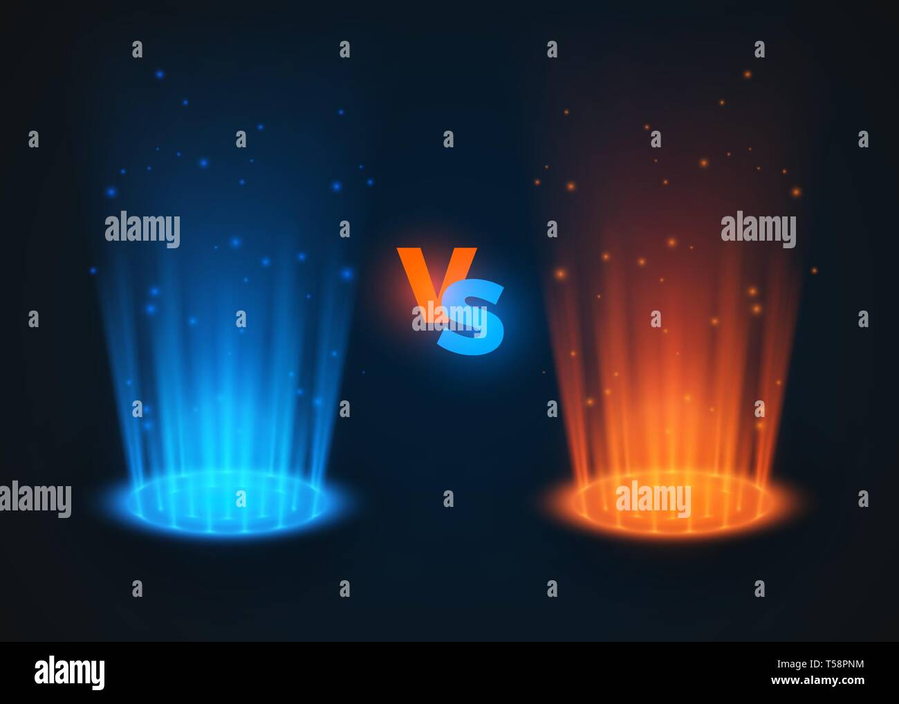 Versus glowing spotlight red and blue colors. VS battle scene with rays and sparks. Abstract hologram. vector illustration - Stock Vector