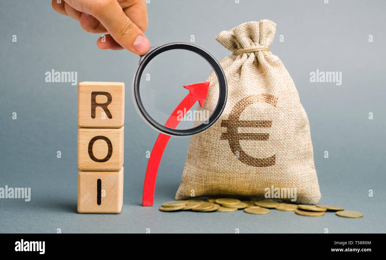 Wooden blocks with the word ROI and the up arrow with the money bag. High level of business profitability. Return on investment, invested capital, rat Stock Photo