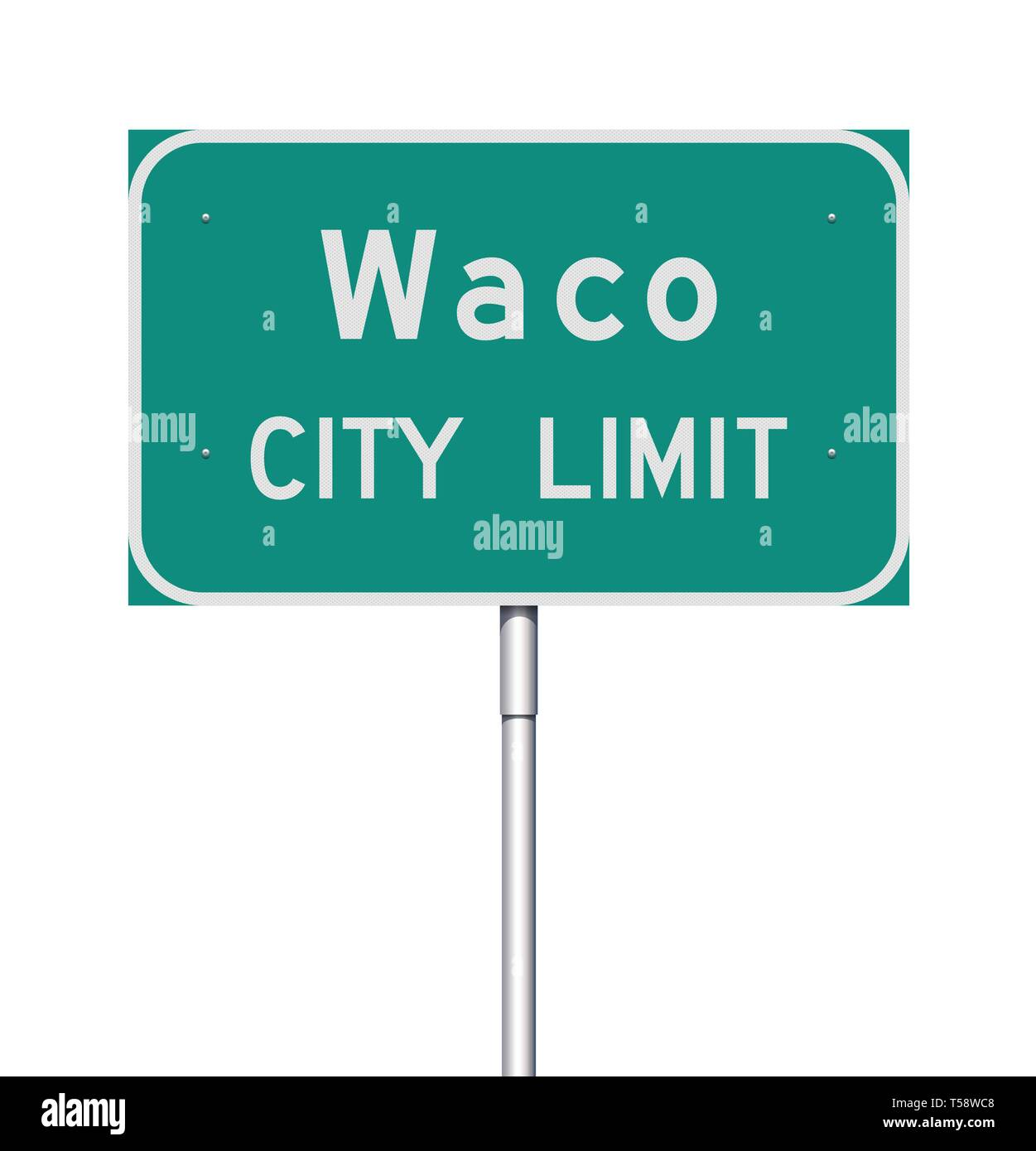 Vector illustration of  the Waco City Limit green road sign Stock Vector