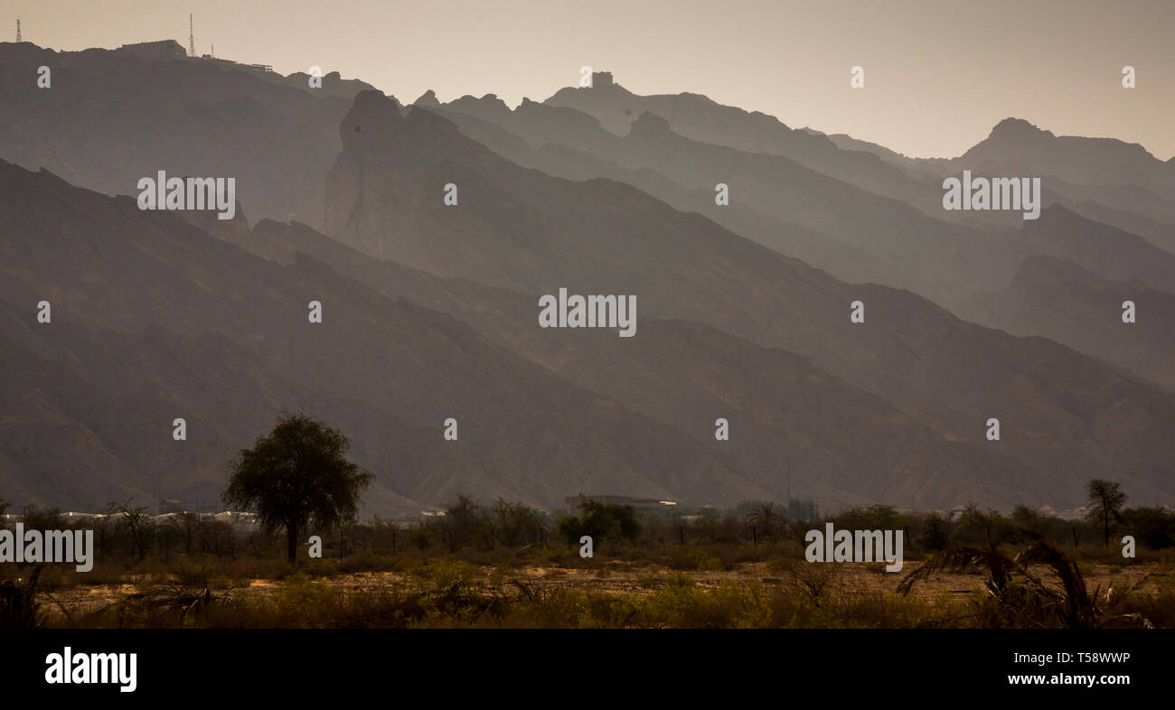 Ayn Al Fayda is a place in Al Ain where the combination of Desert and rocky mountains and green suburbs. An interesting place to go for a sunrise - Stock Image