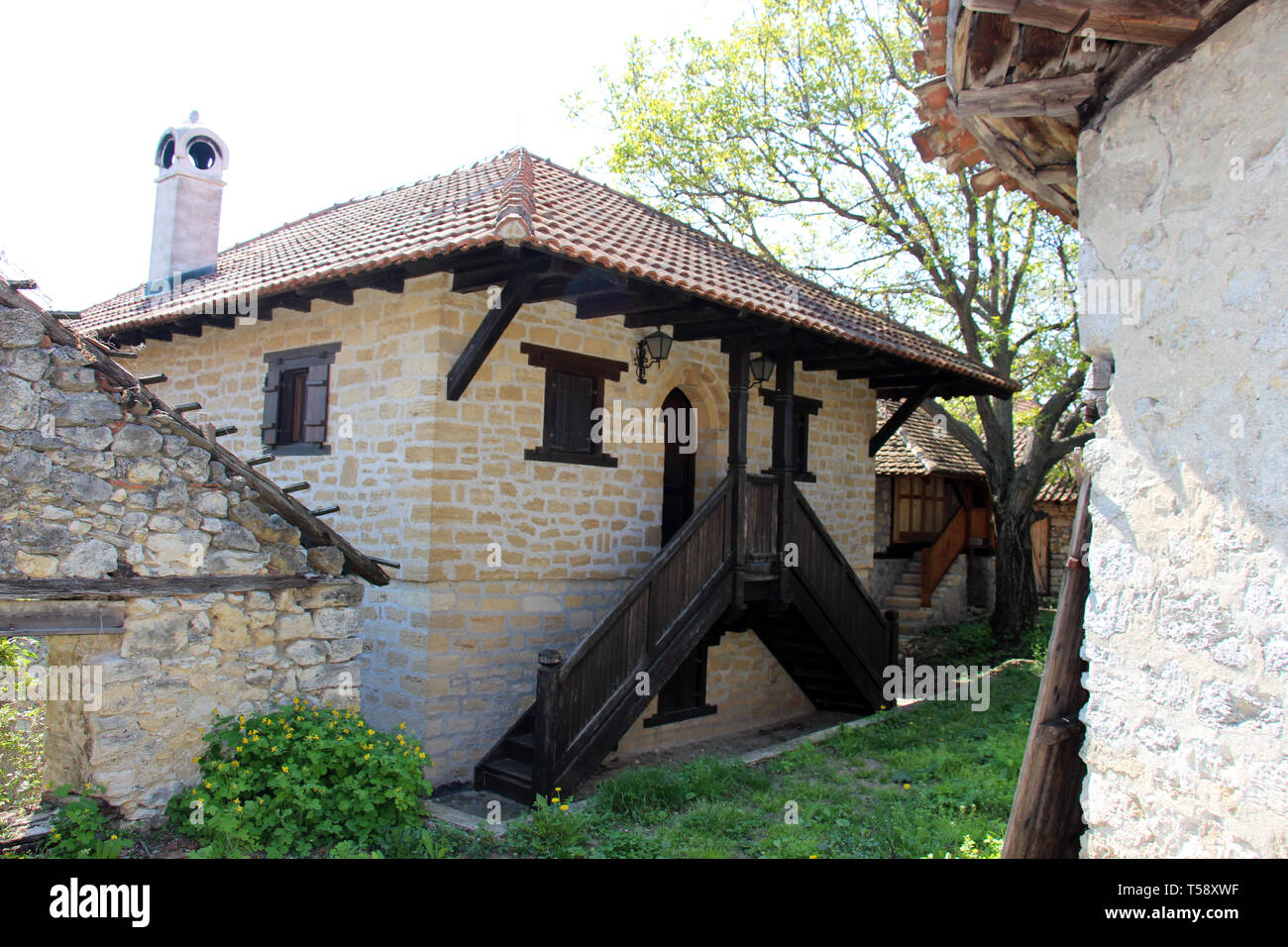 Ancient house made of stone used for storing wine - Stock Image