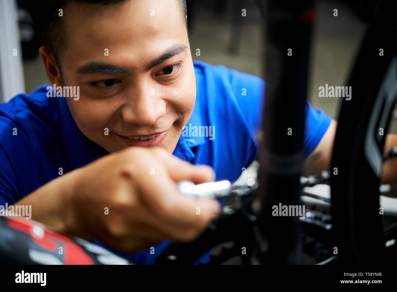 Technician busy his work - Stock Image