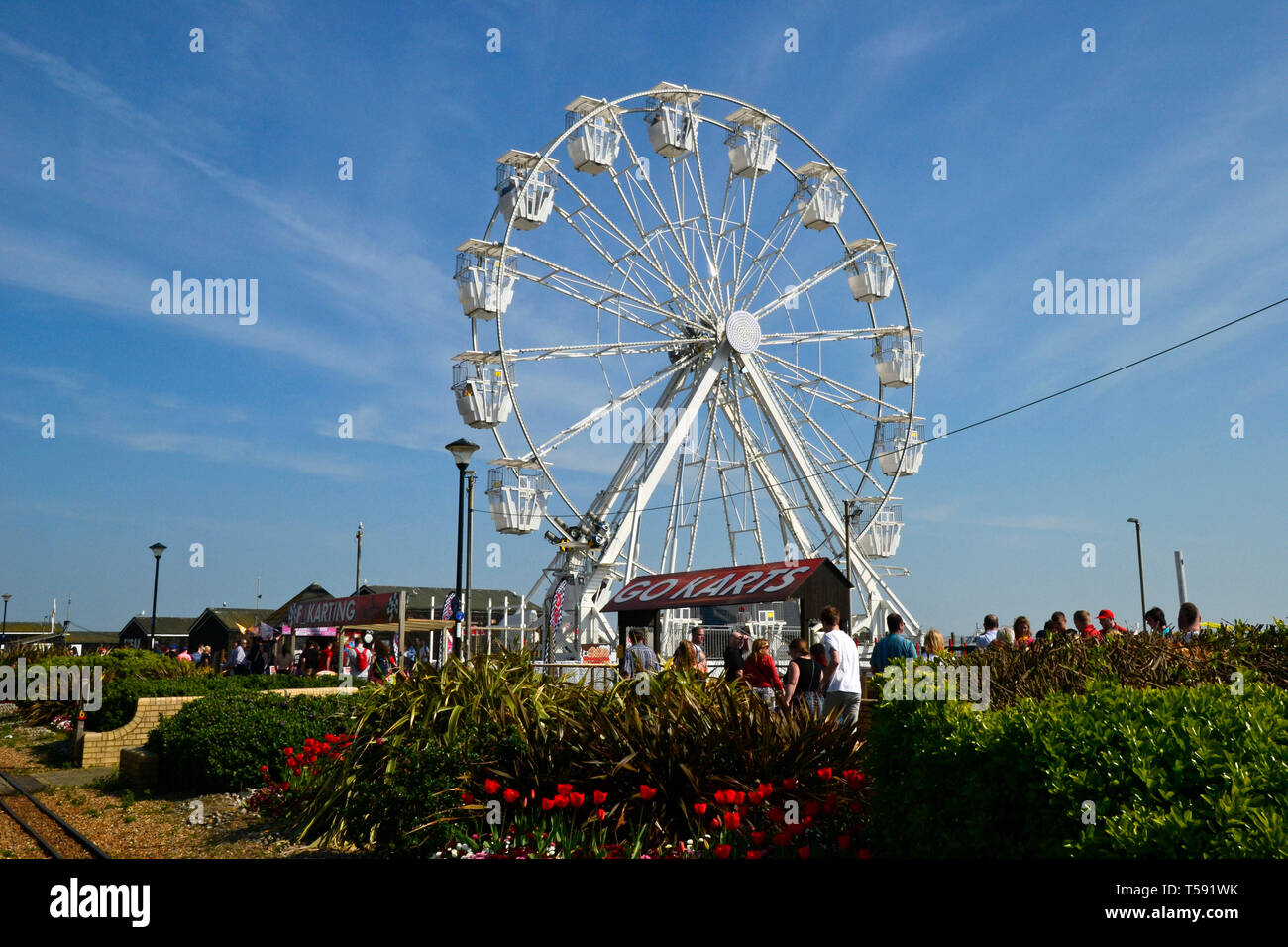 New ferris wheel on Hastings Seafront, Hastings, East Sussex, UK Stock Photo