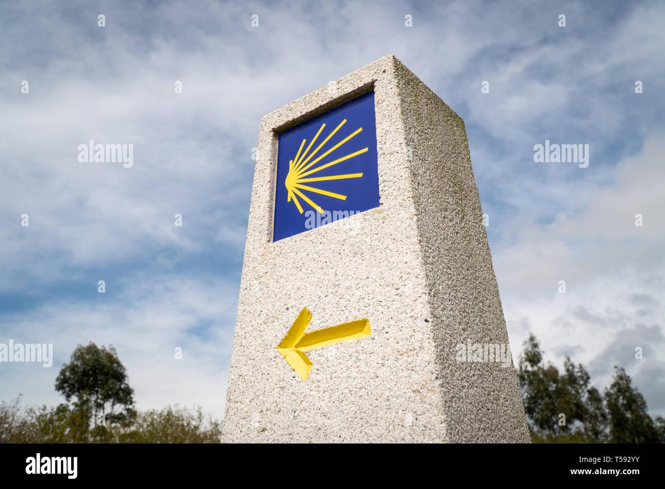 Camino de Santiago milestone. Pilgrimage sign to Santiago de Compostela Stock Photo
