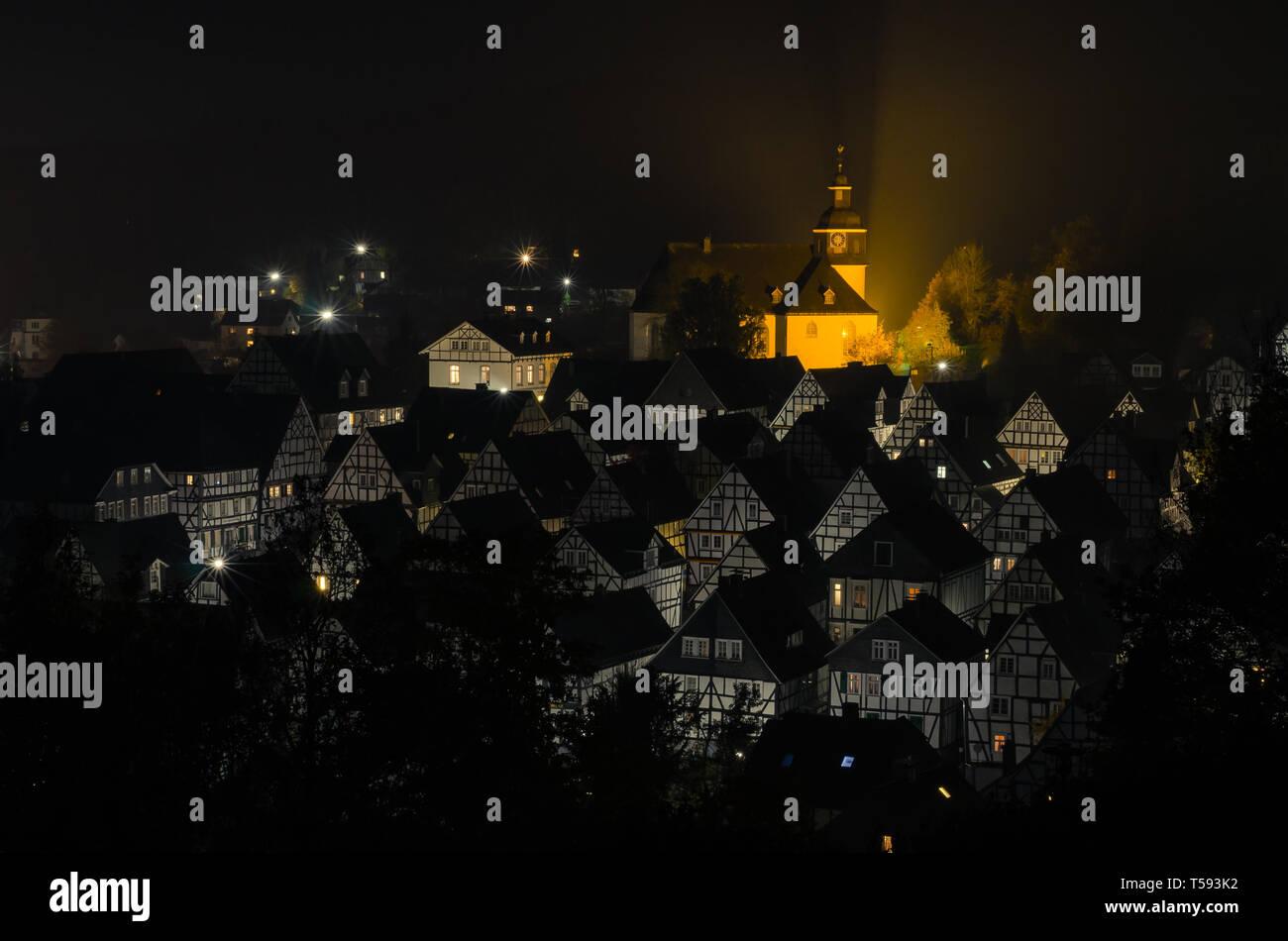Freudenberg bei Nacht - Stock Image