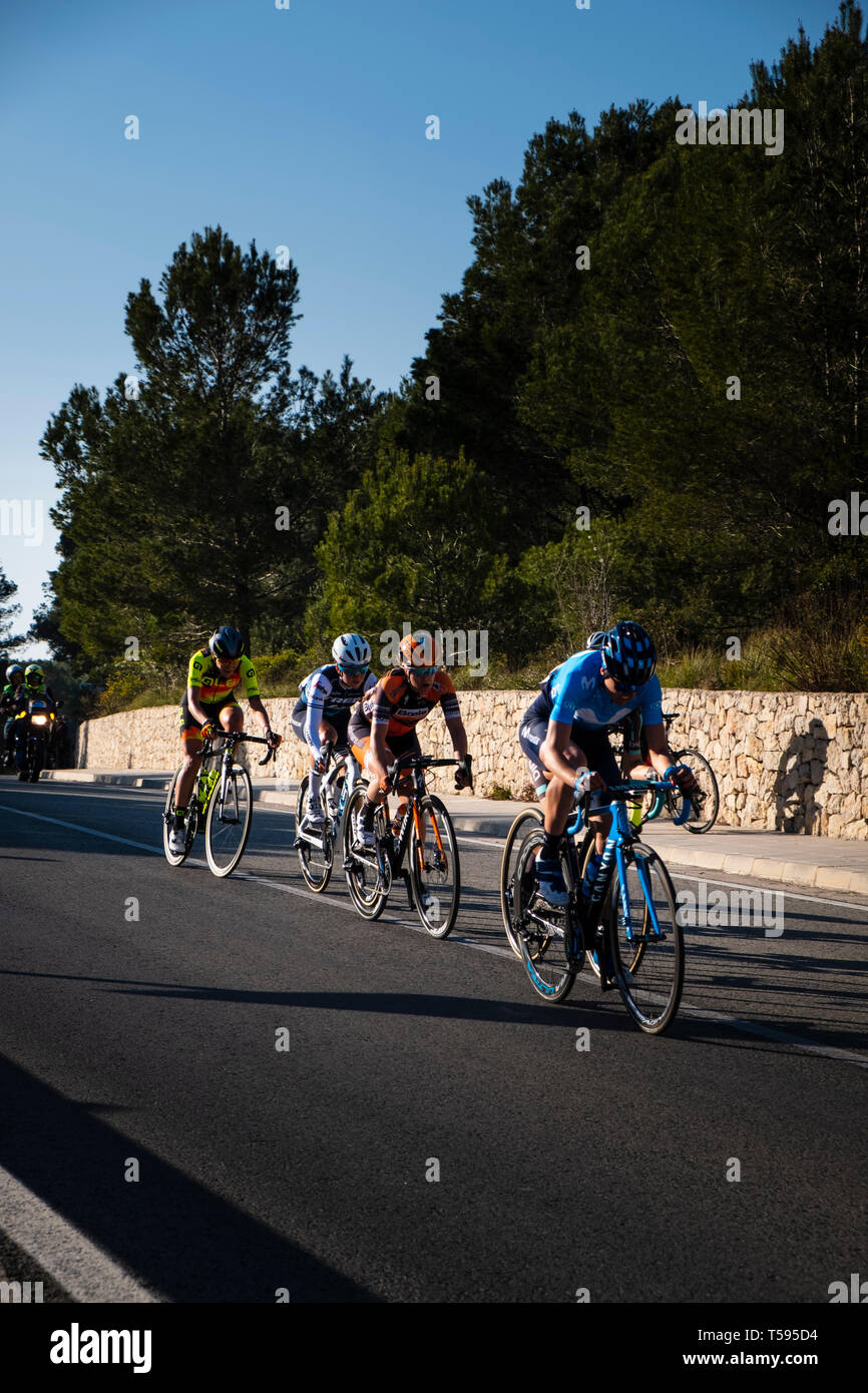 Woman's Cycle race through the La Safor mountains near Gandia Spain Stock Photo