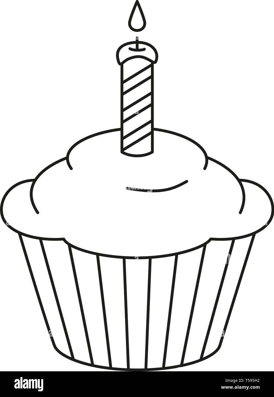 Fine Line Art Black And White Birthday Cupcake Stock Vector Art Funny Birthday Cards Online Alyptdamsfinfo