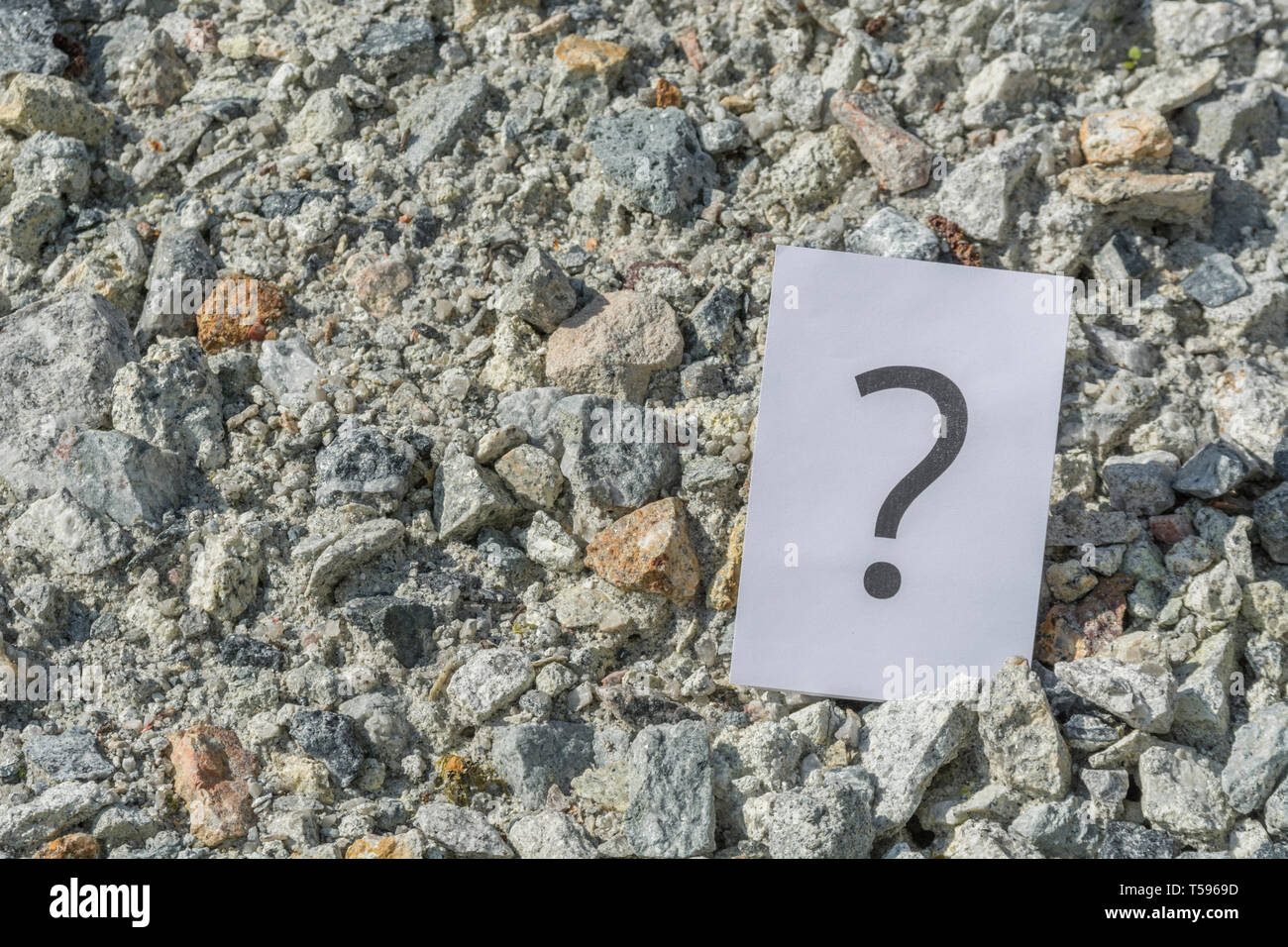 Abstract Question mark in sunlight on sunny day. Metaphor 'truth is out there', to question, answers wanted, meaning of life, searching for truth. - Stock Image