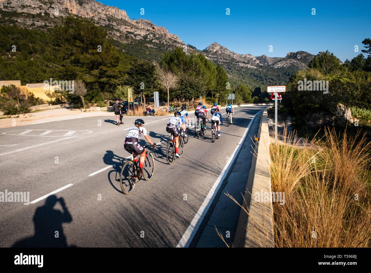 Woman's Cycle race through the La Safor mountains near Gandia Spain Stock Photo