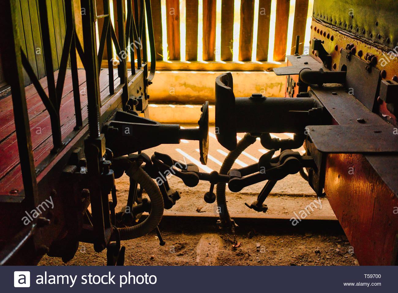 railway wagon buffers - Stock Image