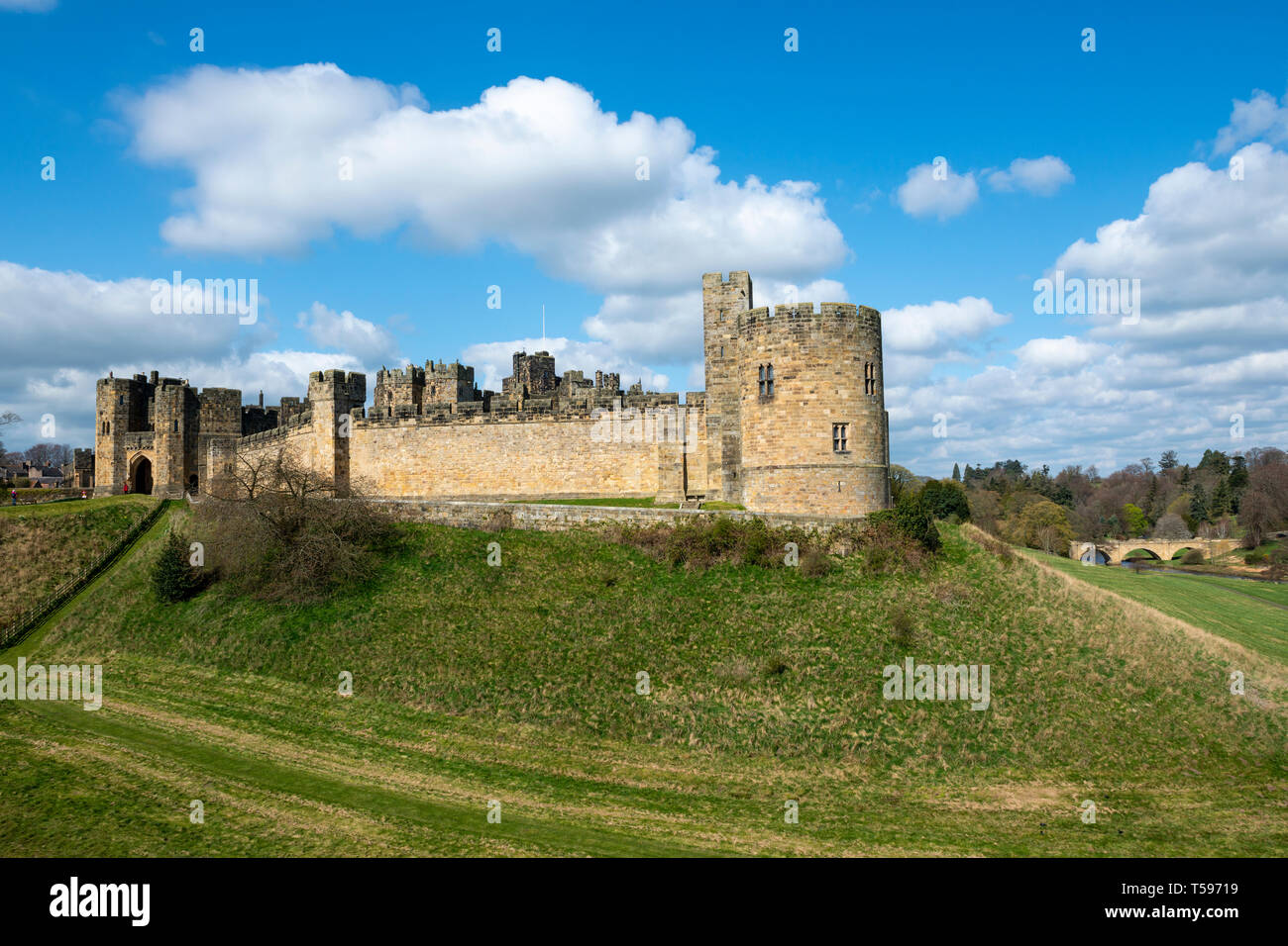 Gateway, Record Tower and Lion Bridge at Alnwick Castle in Northumberland, England, UK Stock Photo