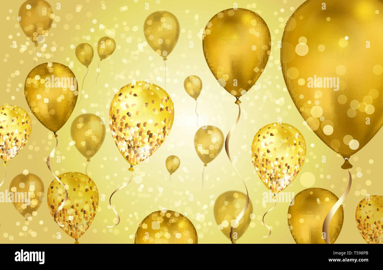 Glossy Gold Flying Helium Balloons With Bokeh Effect And