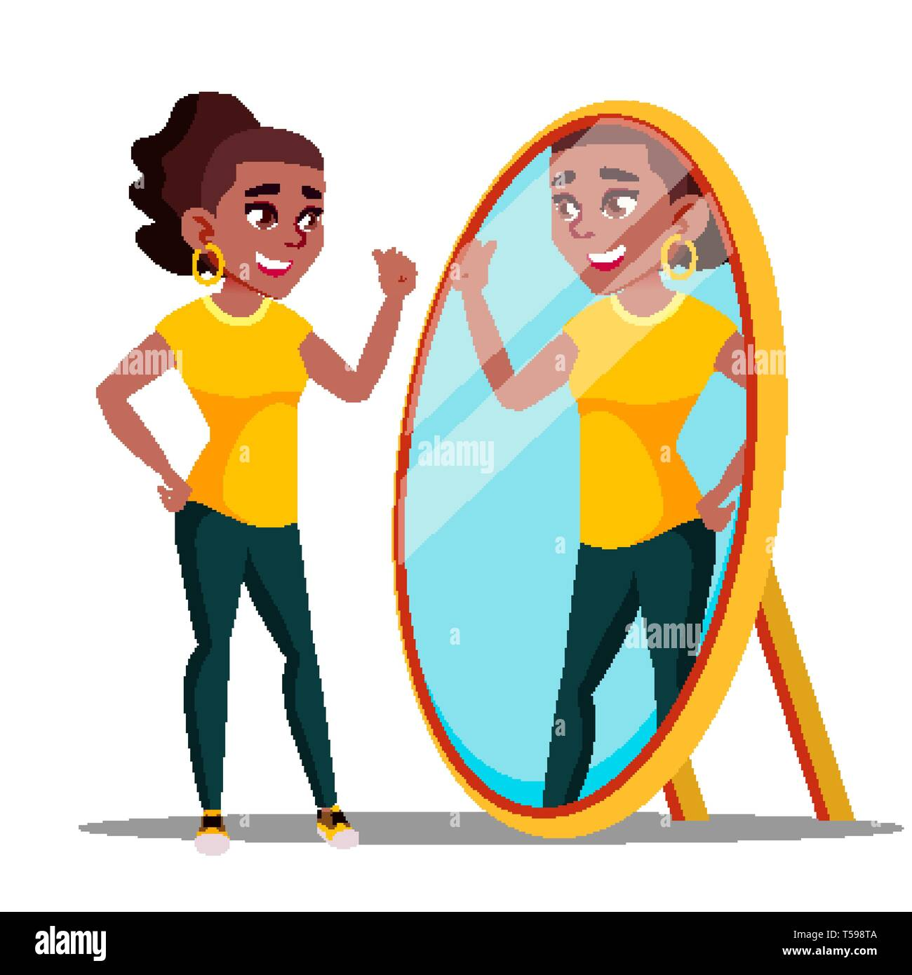 Character Woman Watch Mirror And Admires Vector - Stock Image