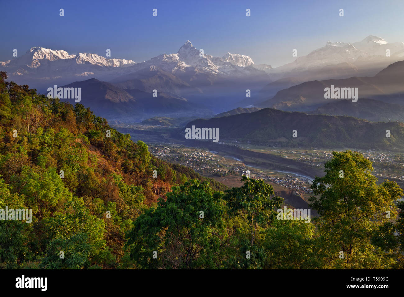 The view from Sarankot above Pokhara in Nepal - Stock Image