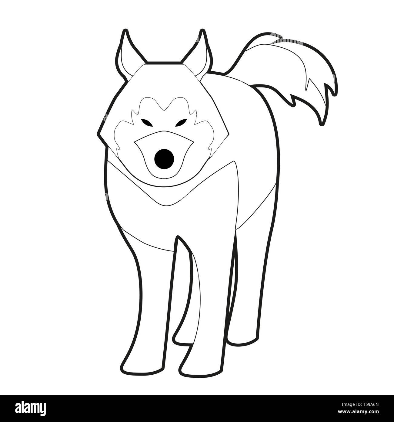 Sled husky dog of polar race cartoon style isolated on white background - Stock Image