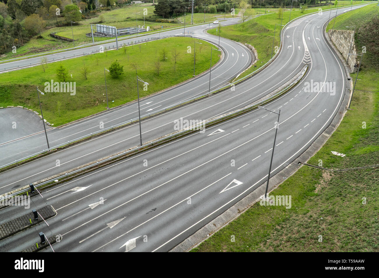 Many roads view from above with no vehicles. Infrastructure or road engineering concept - Stock Image