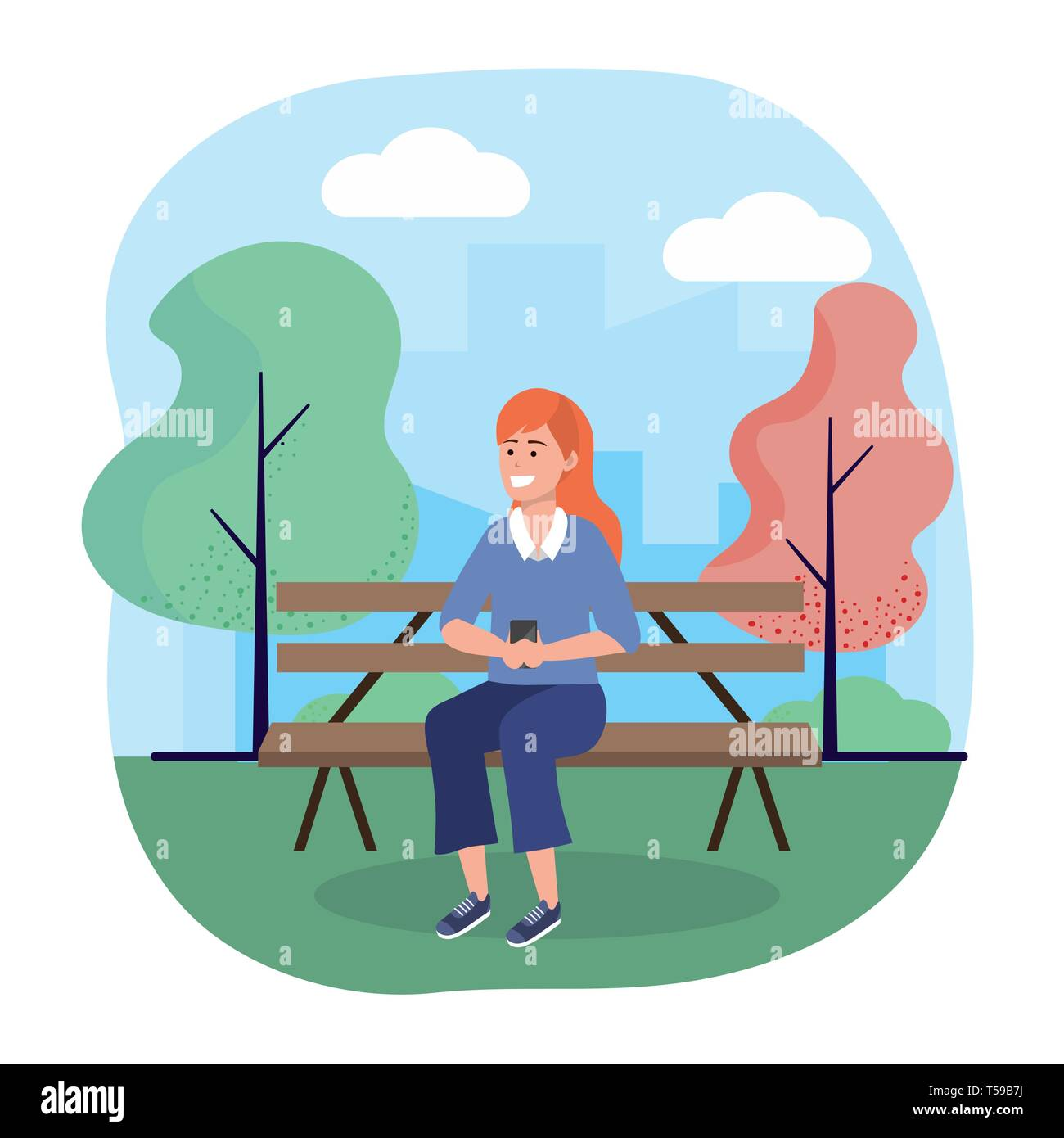 woman seating in the chair with smartphone technology vector illustration Stock Vector