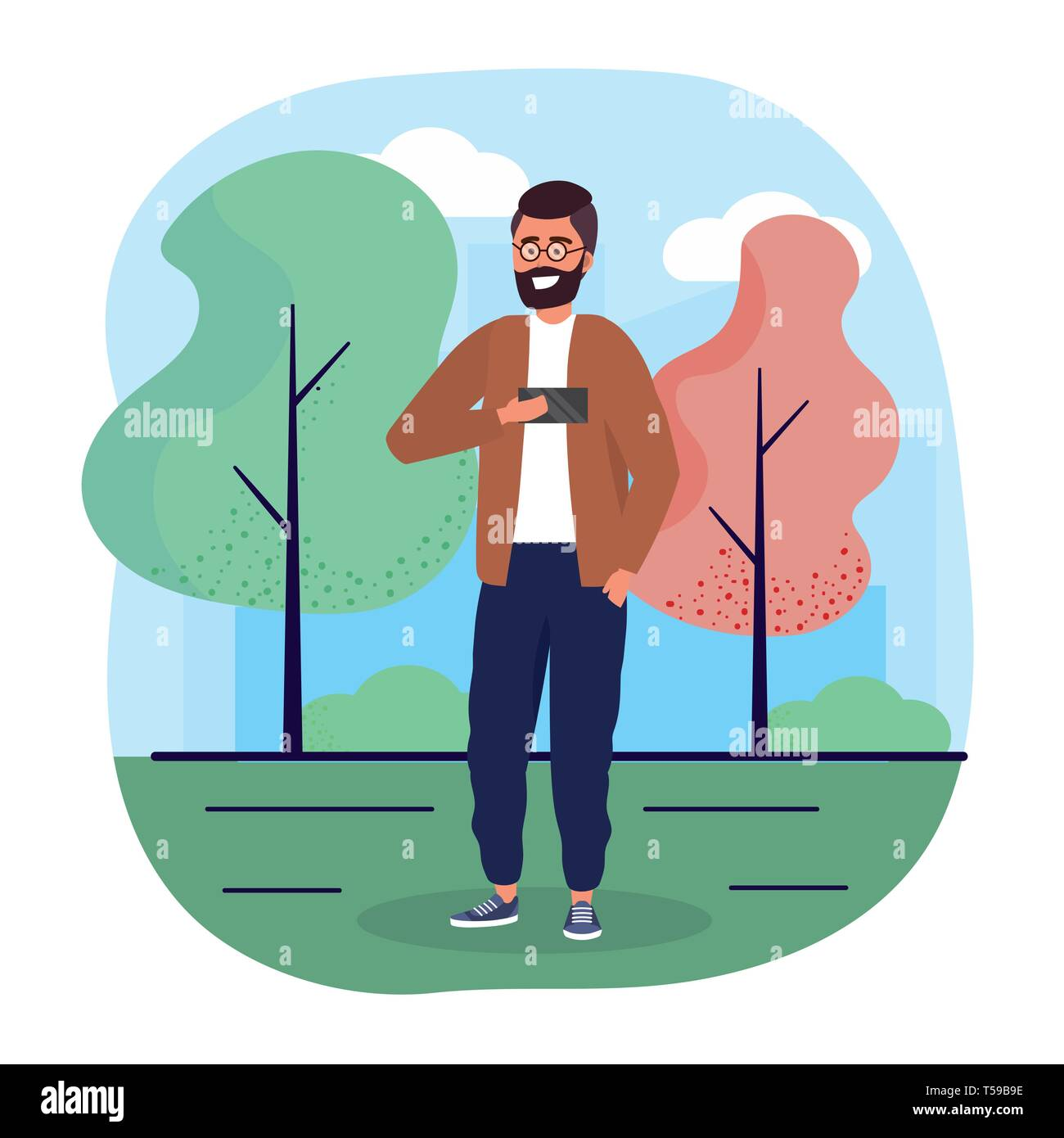 fun man with smartphone with casual clothes vector illustration Stock Vector
