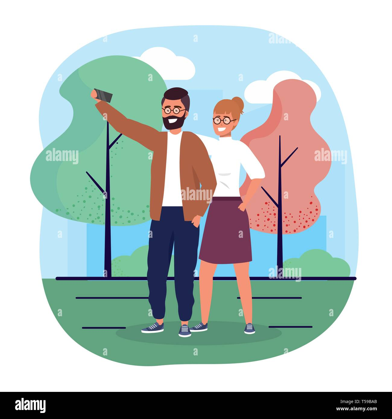 man and woman couple with smartphone technology vector illustration Stock Vector