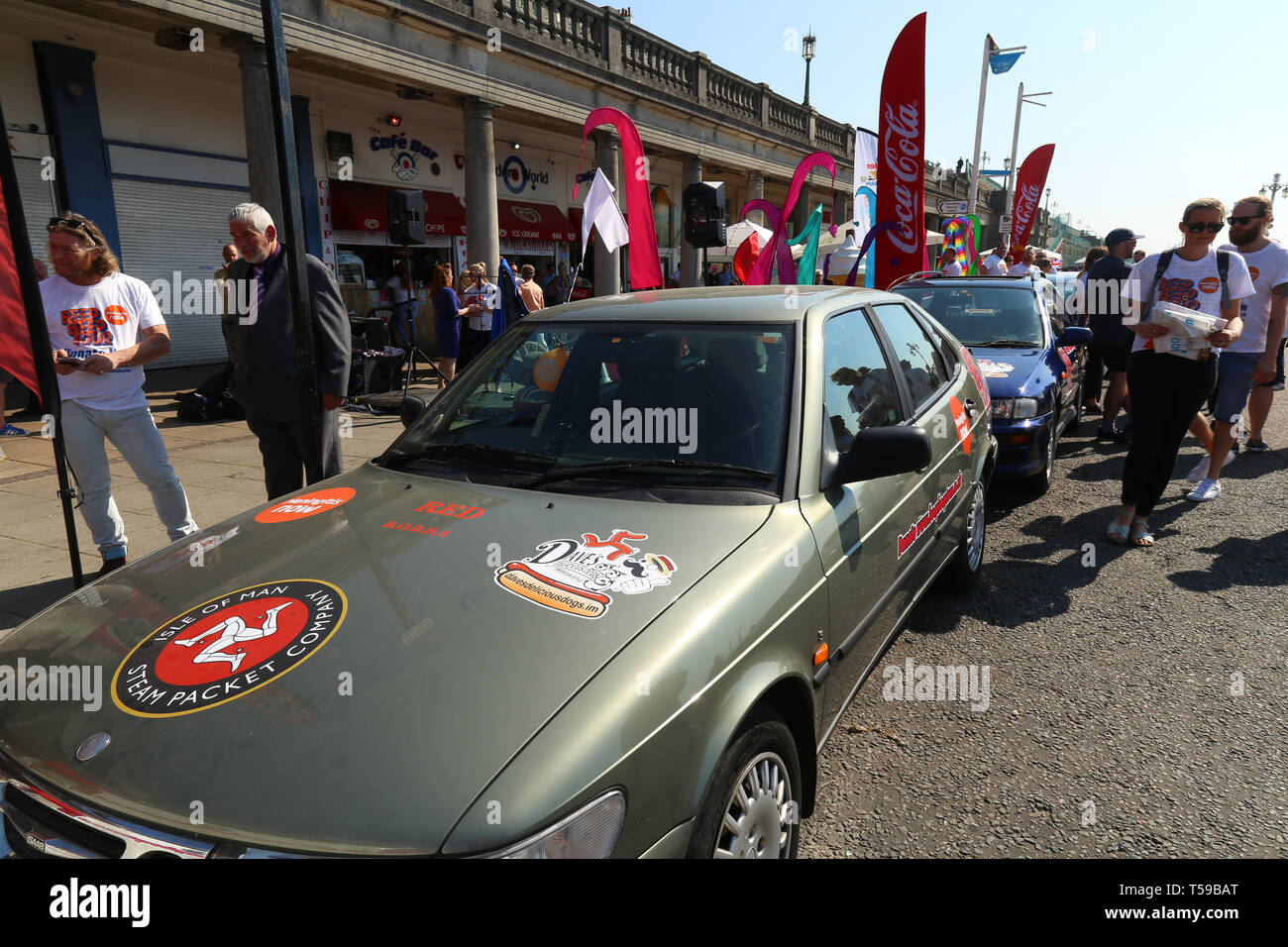Cars parked on show for the charity beep beep tour. Raising Awareness for Meningitis, Brighton. Easter 2019 - Stock Image