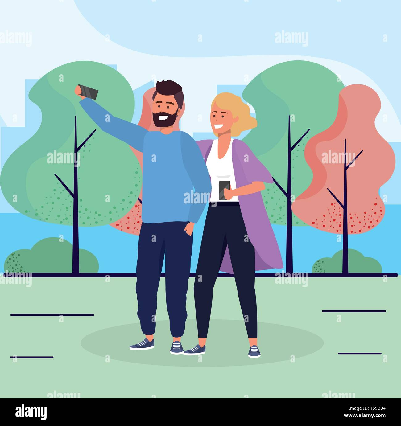 woman and man couple with smartphone together vector illustration Stock Vector