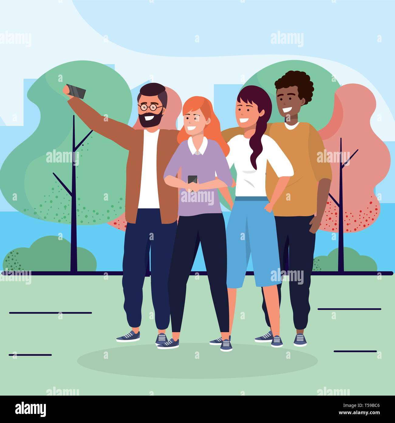 women and men friends with smartphone and trees vector illustration Stock Vector