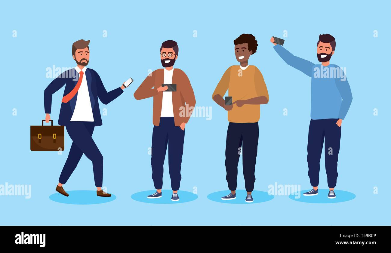 set men with smartphone technology and hairstyle vector illustration Stock Vector