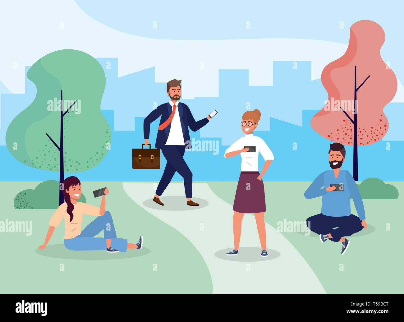 women and men with hairstyle in the park with smartphone vector illustration Stock Vector
