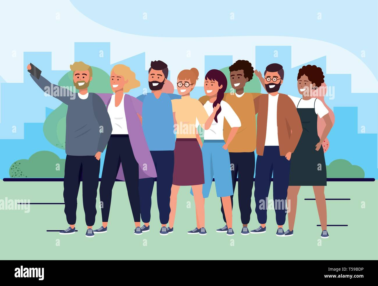 women and men friends with casual clothes and smartphone vector illustration Stock Vector