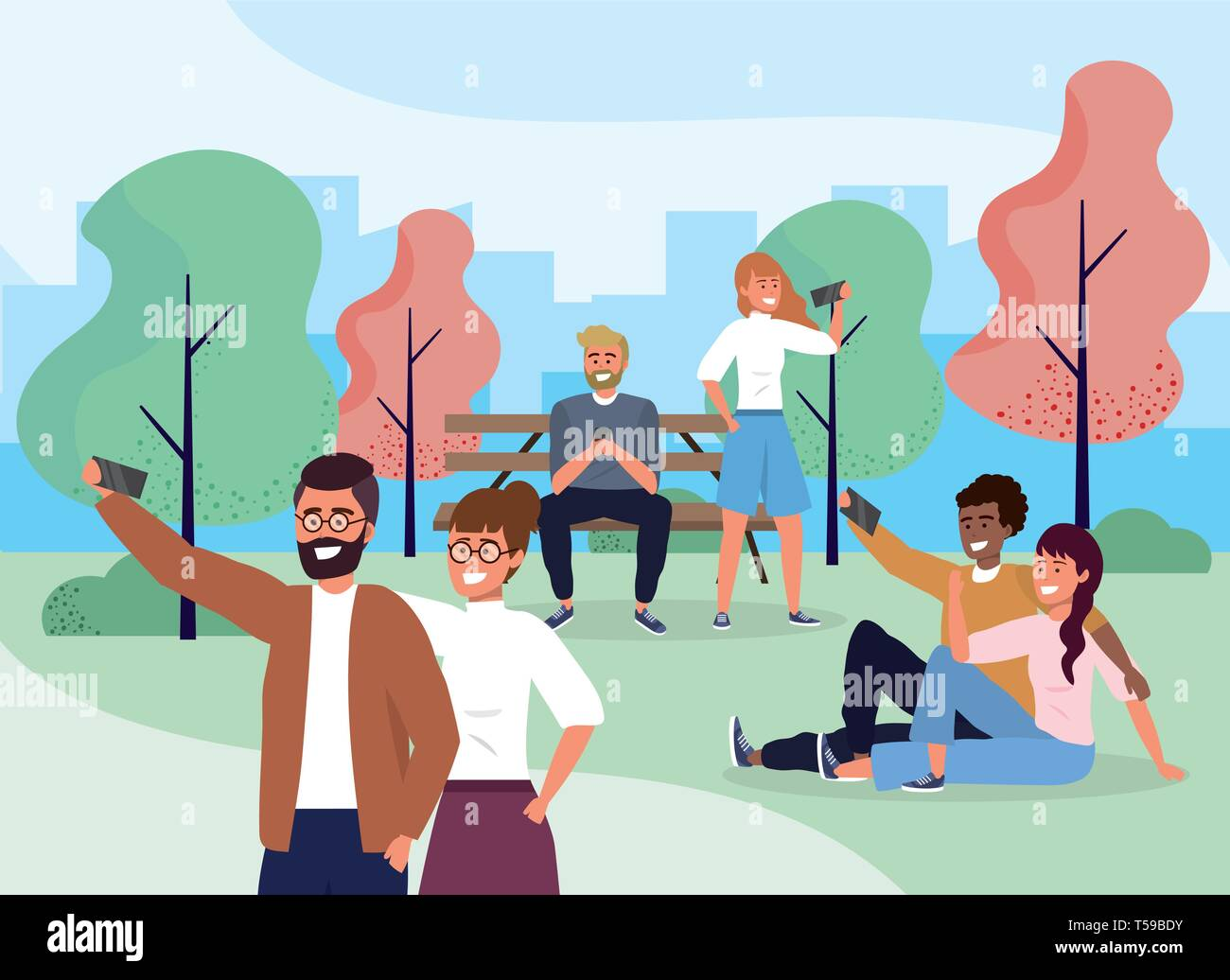 funny people couple with smartphone in the park vector illustration Stock Vector