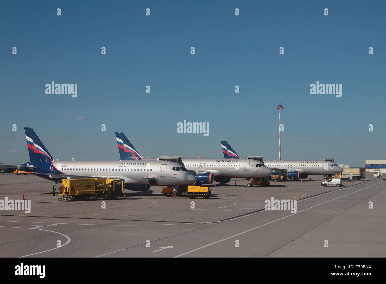 Moscow, Russia - Sep 14, 2018: Planes on parking at Sheremetyevo Airport - Stock Image