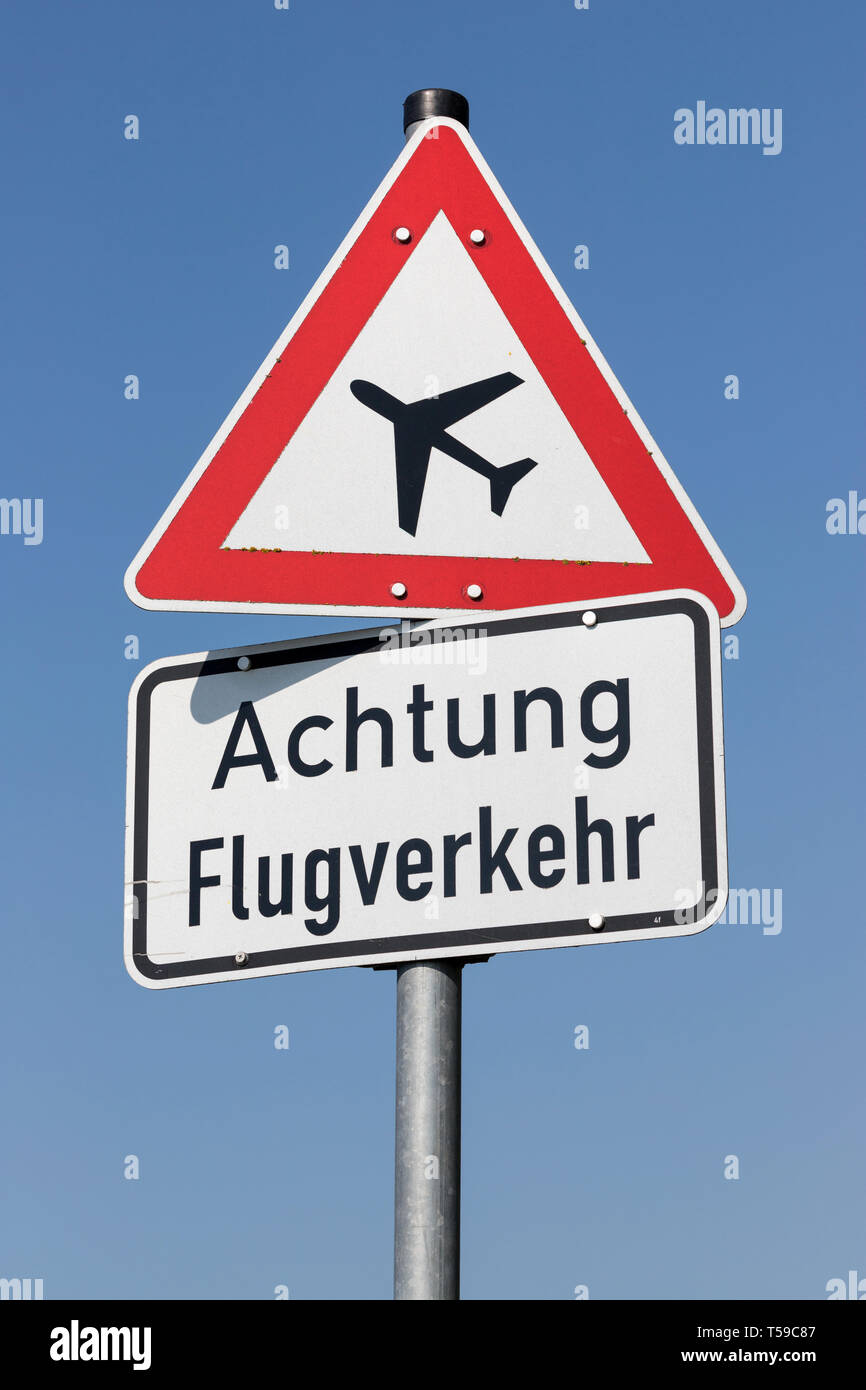 German road sign: low-flying aircraft - Stock Image