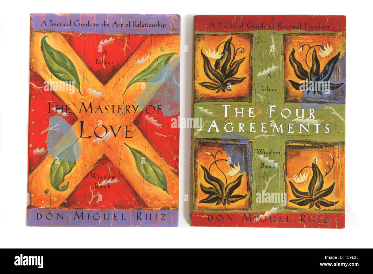 2 books by Don Miguel Ruiz, The Mastery of Love and The Four Agreements - Stock Image
