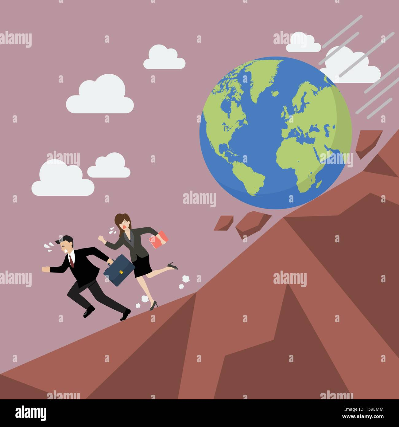 Businessman running away from planet earth that is rolling down to him. Climate change concept Stock Vector