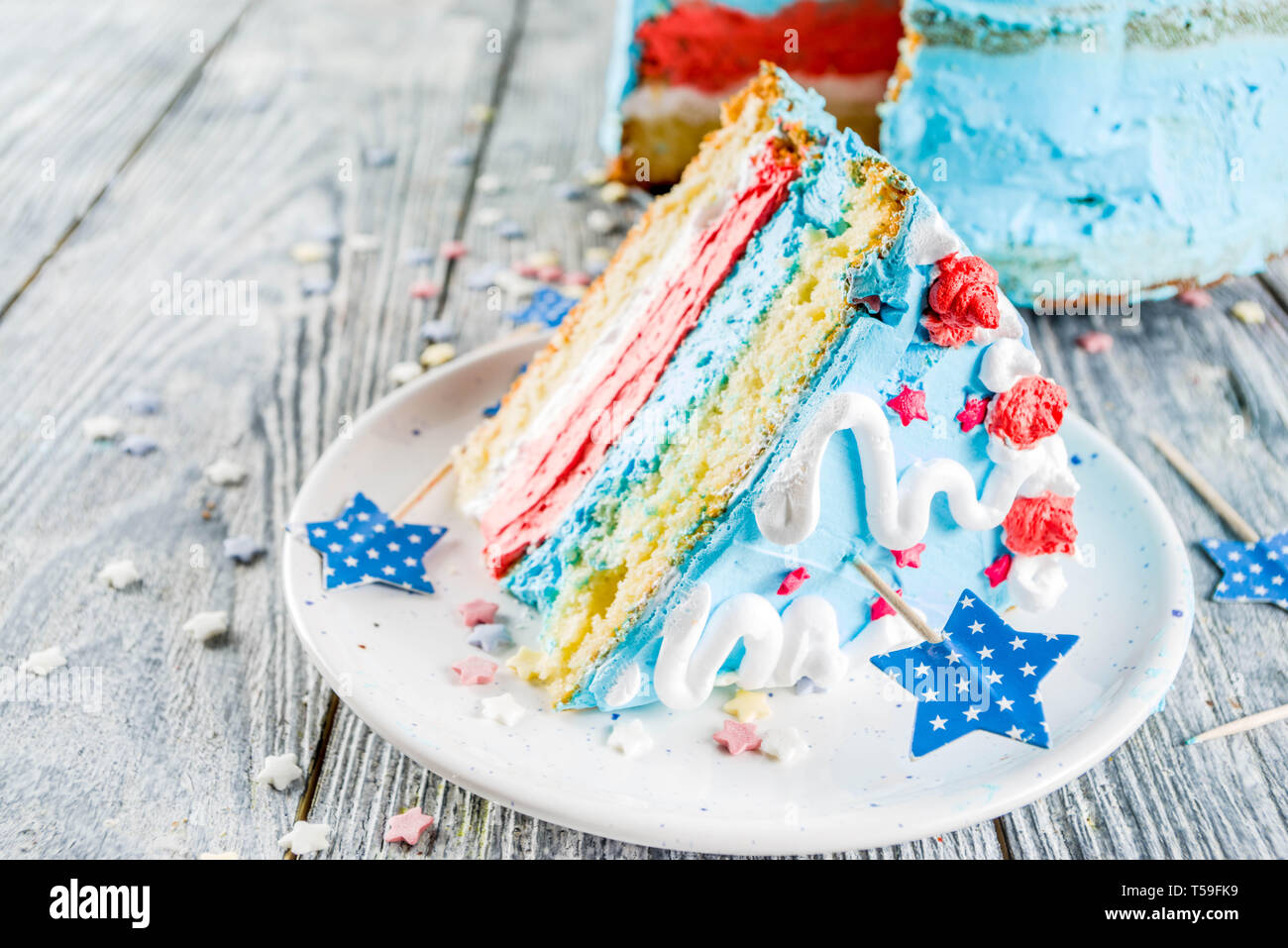Homemade American United States Independence Day Cake For 4 July