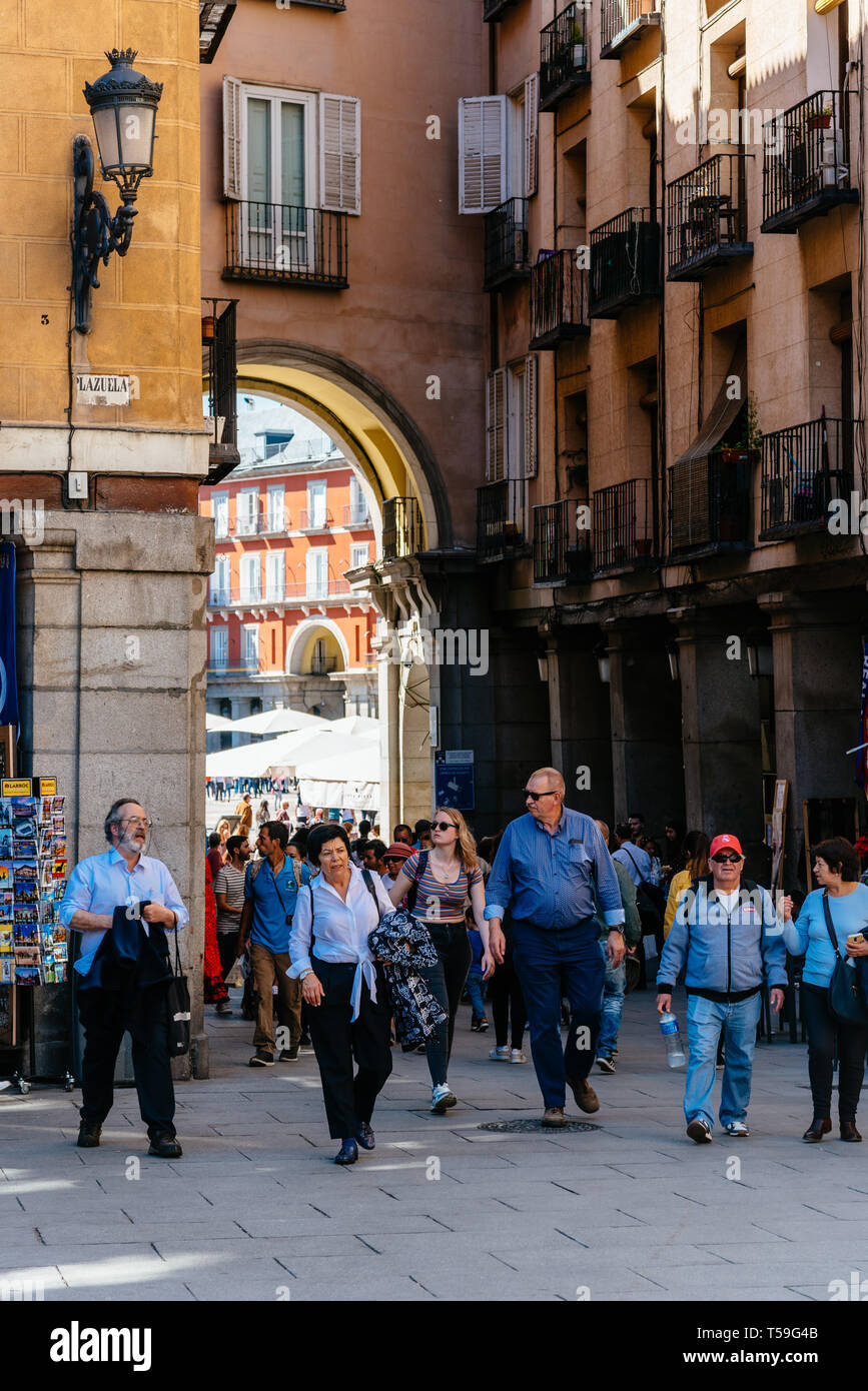 Madrid, Spain - April 14, 2019: Scenic view of Plaza Mayor of Madrid. It is a landmark in historic center of the city. Stock Photo