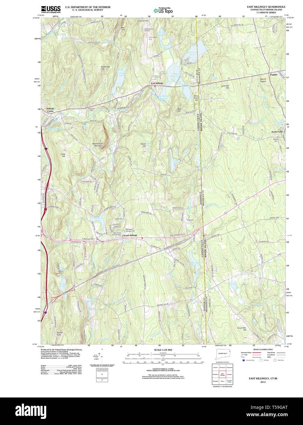 Killingly Street Ri Road Map on