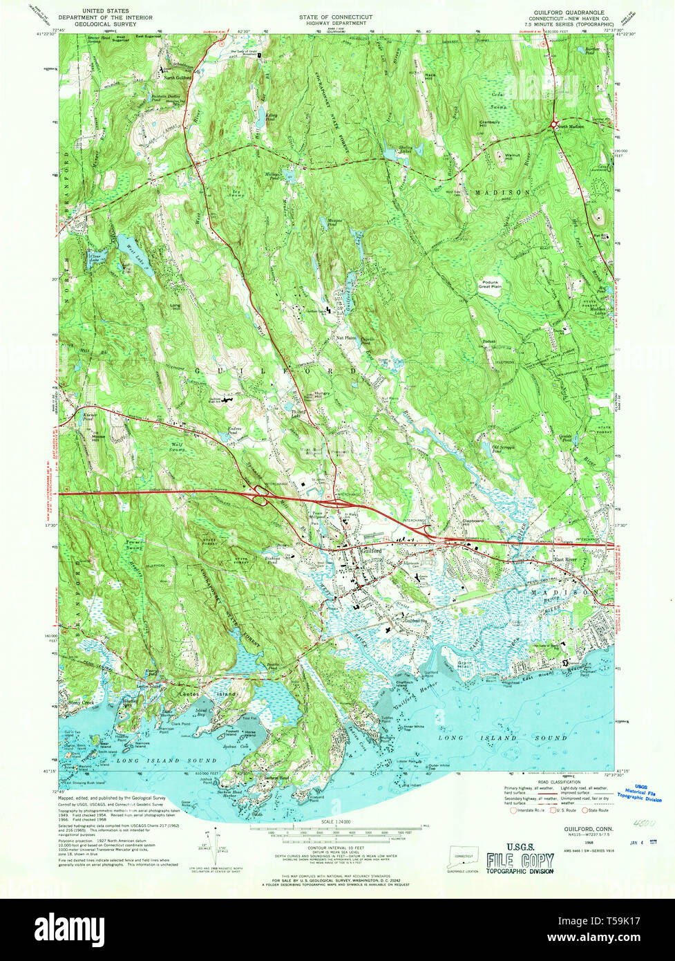 USGS TOPO Map Connecticut CT Guilford 330586 1968 24000 ...