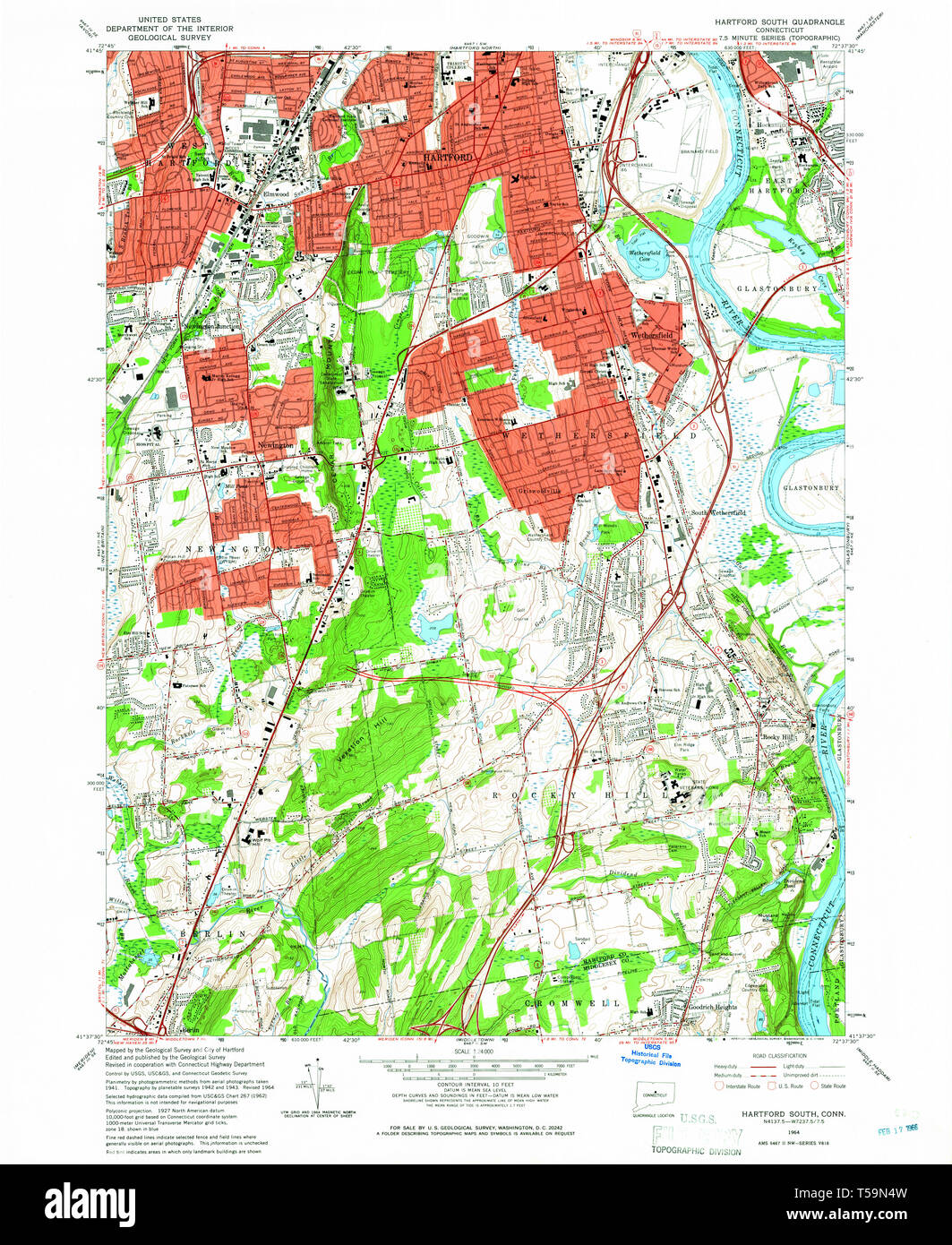 USGS TOPO Map Connecticut CT Hartford South 330612 1964 24000 ... Dss Ct Map on