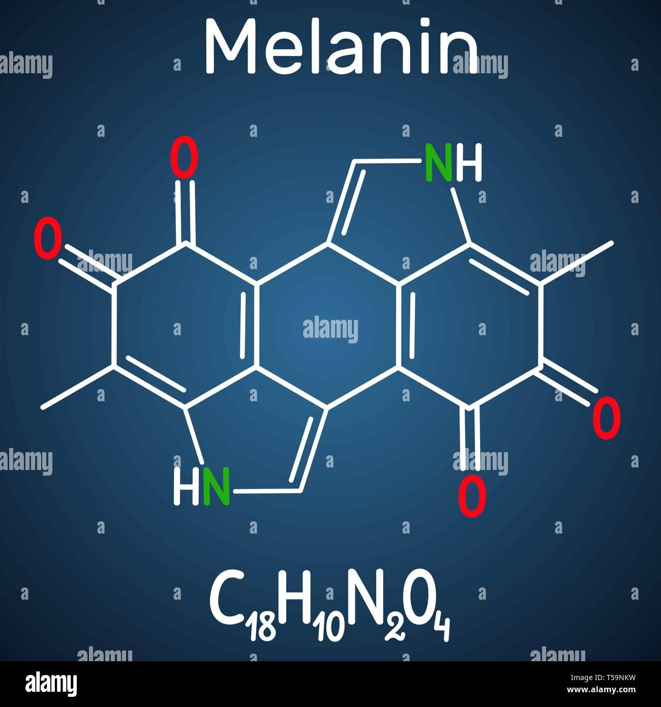 Melanin  molecule. Structural chemical formula and molecule model on the dark blue background. Vector illustration Stock Vector