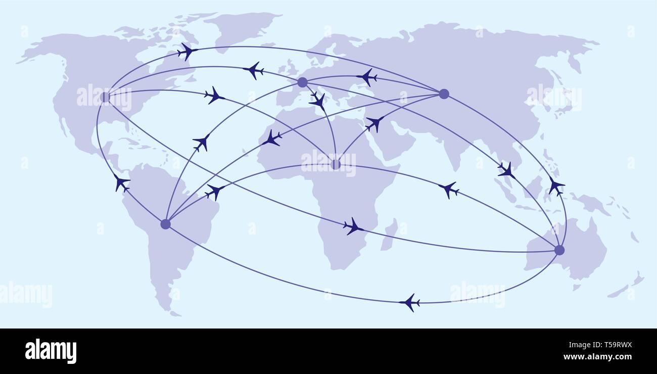Intercontinental passenger flights - vector illustration - Stock Image